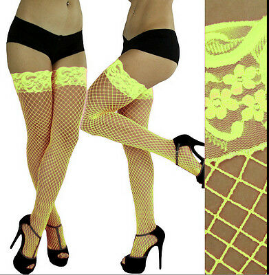 Neon Fishnet Lace Trim Over The Knees Thigh Highs Socks Dancewear Stripper Rave