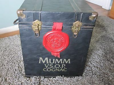 RARE MUMM VSOP V.S.O.P Cognac Leather Trunk Case Storage Bin Rope Handles