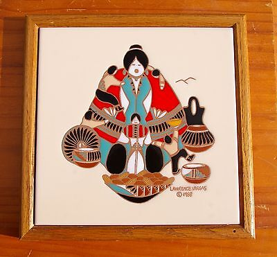 Lawrence Vargas 1988 Framed Handpainted Tile Tecolote of New Mexico