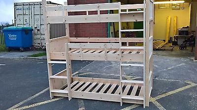 Triple Bunk bed. Built to last out of solid pine. Easy assembly.