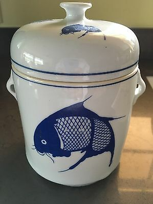Vintage Blue White Chinese Porcelain Double Lid  Canister Ginger Jar Tea Caddy