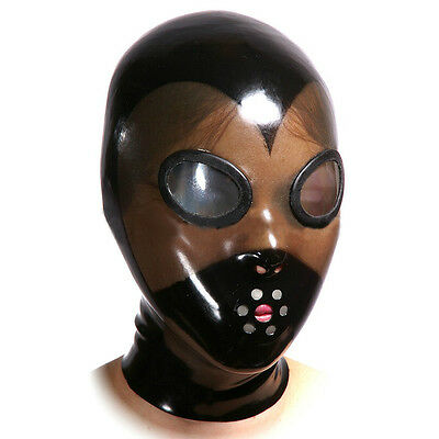 Latex mask with mirror eyes, gummy rubber hood (custom color, size and mouth)