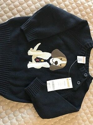 Gymboree Baby Boy Dog Sweater Navy Blue Size 12 To 18 Months NWT