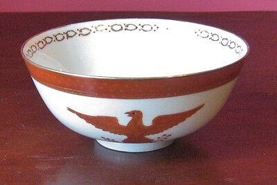 chinese export style porcelain bowl eagle colonial reproduction red white