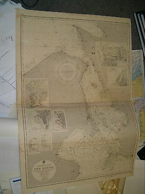 Vintage Admiralty Chart 2115 ENTRANCE TO THE BALTIC - THE SOUND 1934 edition