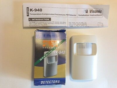 Visonic K-940 Pet-tolerant to 40 Lbs. PIR Detector Infrared Sensor NEW Hardwired