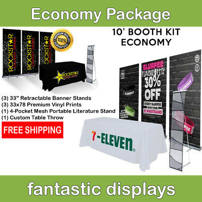 Economy Trade Show 10ft. Booth Display Package Prints & Brochure Holder Included