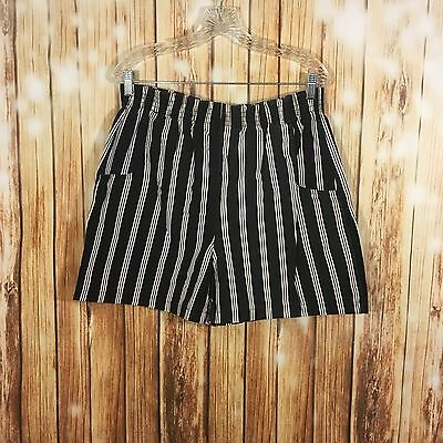 Vintage Mens American Weekend Striped Swimming Trunks Shorts Black White Sz M