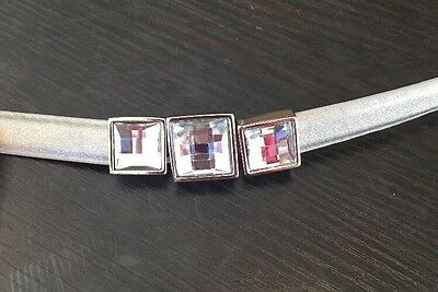Women's Silver Leather Rhinestone Thin Skinny Belt Small S Adjustable Length