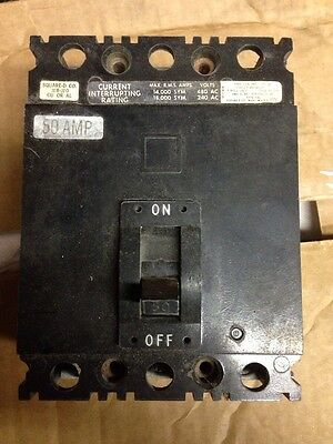 Square D 3-Pole, 50 Amp, 480V Circuit Breaker