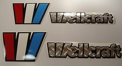 Wellcraft CHROME Diamond plate Marine Vinyl boat decals stickers 4 decal set