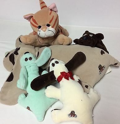 Vtg Pound Puppies Plush Lot Spotted Dog Orange Cat Brown Green Doggies 80's