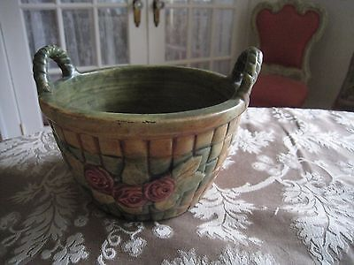 Vtg~Weller Pottery Flemish Rose Basket Planter / Bowl With Double Handles #185