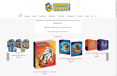 Pokemoncards.com.au website and URL