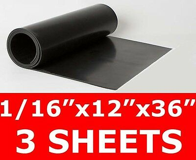 "3 SHEETS 1/16"" thick Neoprene Rubber Sheet 12"" x 36"" Long Smooth FREE SHIP"