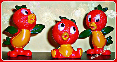 Vintage '70s DISNEY Florida Orange Bird PVC Figurines; 1 Complete Set of 3 Poses