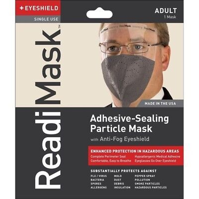 ReadiMask Emergency Escape Smoke Fire Gas Mask w/ Eye Shield, Gray