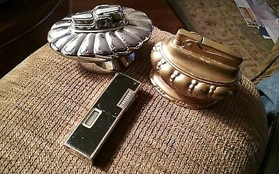 Lot of 3 Vintage Lighters Crown Ronson Gold, Silverplate