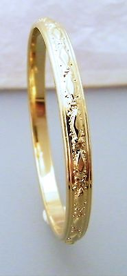 Gold Diamond Pattern Creola Bangle Babies size 47mm - 1 7/8inch 22ct Gold Plated