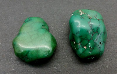 Matched Pair Antique Tibetan Turquoise Stone Beads 45 Grams - 300+ Years Old -