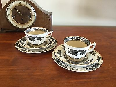 BOOTHS CHINA ANTIQUE TRIOS X 2  BLACK DRAGON PATTERN A8029 circa 1910