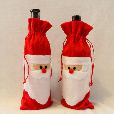 2pcs Best Santa Claus Red Wine Bottle Cover Bags Champagne Xmas Gift Table Decor