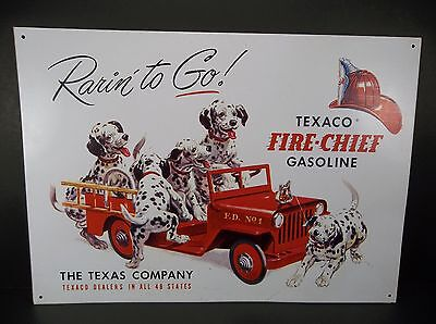 "Texaco Fire Chief Rarin' To Go Jeep Gasoline Metal Sign 12 x16"" Dalmations"