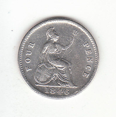 1846 Great Britain Queen Victoria Silver  Fourpence.  Scarce.