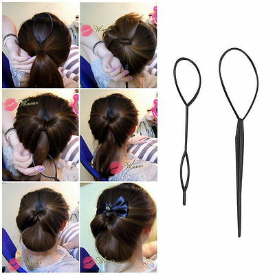 Ponytail Creator Plastic Loop Styling Tools Black Topsy Pony Tail Hair Braid M2