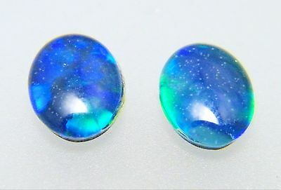 Natural Australian Opal Triplet 8mm x 6mm Oval Loose Stones Blue/Green (2 Pack)
