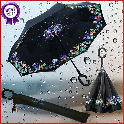 JW Lifestyle Creative Inverted Reverse Umbrella, Straight with C-shaped Handle &