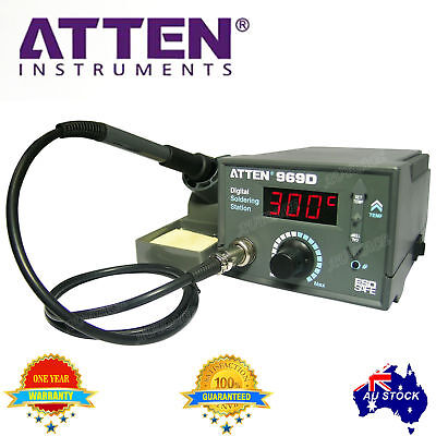 ATTEN SOLDERING IRON STATION LED AT980D 80W LEAD FREE 5 Tips AU 1 Year WRT