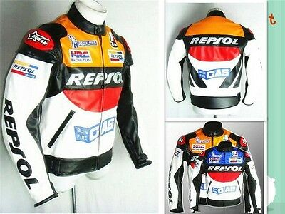 New REPSOL Men Motorcycle PU Leather Racing Suits Armor Riding Protective Jacket