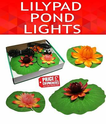 3 pc Garden Pond Lily Lights Lighting Floating Flower Pool Decor Outdoor Lilies