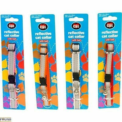 4 Colours Reflective Cat Collar With Bell And Safety Buckle Adjustable Length
