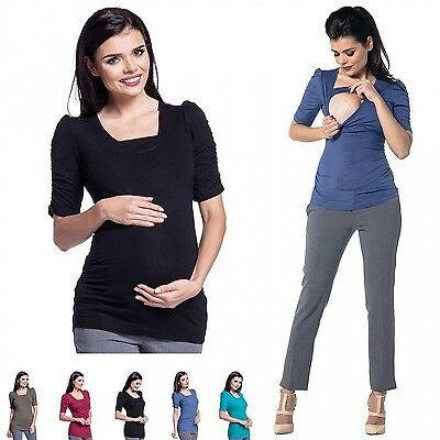 Zeta Ville - Women's Maternity Nursing Top - Layered Design - Scoop Neck - 938c