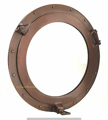 "20"" Aluninum Porthole Mirror~Copper Antique Layer Window~Ship & Home Wall Decor"