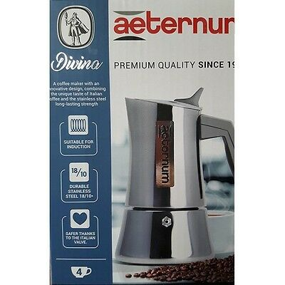 Bialetti AETERNUM DIVINA Induction 4 Cup Stainless Steel Espresso Maker