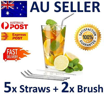 5 x Stainless Steel Metal Drinking Straw Straws Bent Reusable Washable+2 Brushes