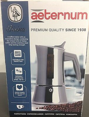 Bialetti AETERNUM DIVINA Induction 6 Cup Stainless Steel Espresso Maker