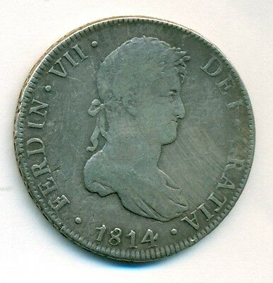 Spanish Colonial (Bolivia) 1814 PTS PJ 8 Reales in nice original condition