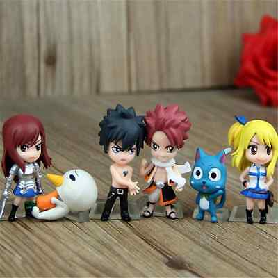 New Mini Anime Fairy Tail Natsu Gray Lucy Erza Painted PVC Figure Toy 6pcs KO