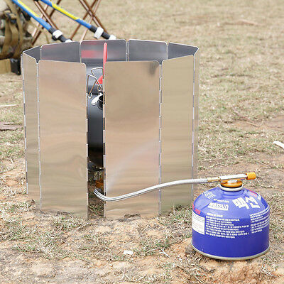 9/10 Plates Foldable Outdoor Camping Cooking Burner Stove Wind Shield Screen RW