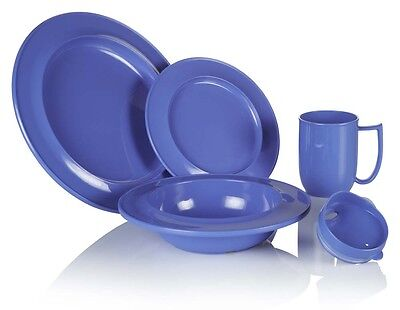 Dementia Friendly Crockery Range Individual Items Blue Ivory Or Yellow Melamine