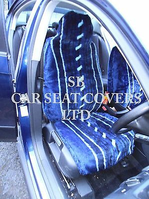 Panther Black Faux Fur Car Seat Covers 2002-06 Volvo XC90 2 x Fronts
