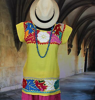 Hand Embroidered Multi-Color & Yellow Huipil Blouse, Jalapa Mexico, Hippie, Boho