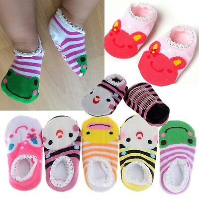 Pinksee Baby Infant Girls 5 Pairs Cotton Animal Stripes Anti Slip Booties Socks