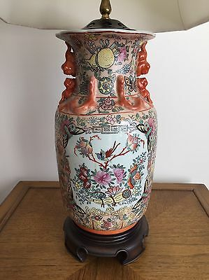 Vintage Chinese Peach Famille Vase Lamp Asian fusion Chinoiserie 2 Available