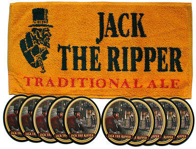 JACK THE RIPPER TRADITIONAL ALE Pub Bar Towel & 10 matching Beer Mats Coasters
