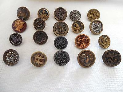 Mixed Lot 20 Small Antique Metal Buttons Pictures Patterns Metal Loop Shanks !!!